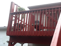 view of railing from the ground.