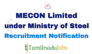 MECON Recruitment notification of 2018, govt jobs for graduates