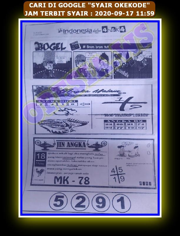 Kode syair Hongkong Kamis 17 September 2020 72