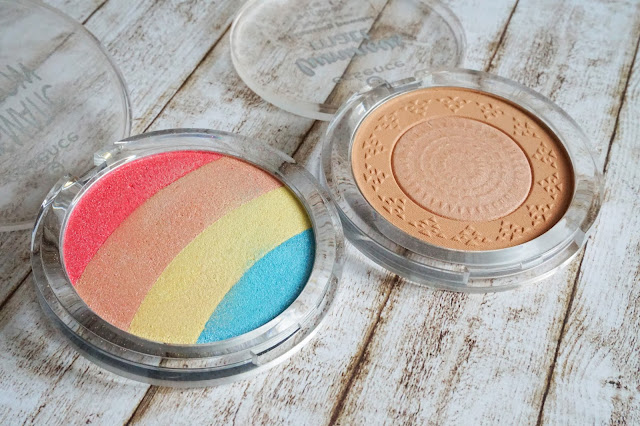 prismatic rainbow glow highlighter in 10 be a unicorn  luminous matt bronzing powder lighter skin in 01 sunshine