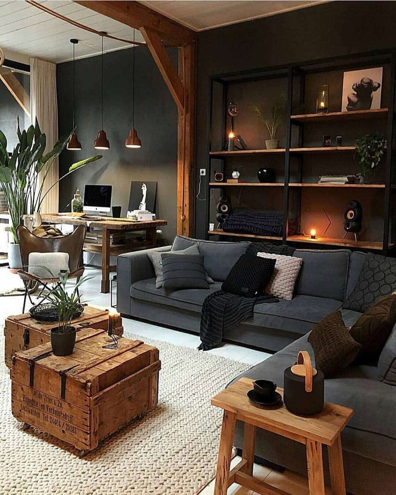 amazing dark living room decoration idea