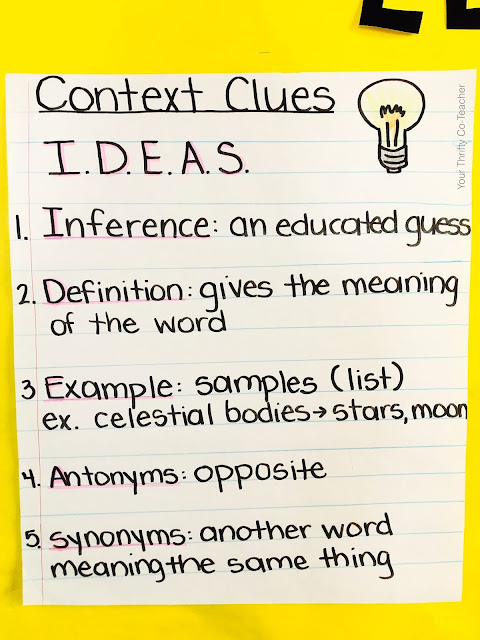 Looking for engaging activities to use when teaching context clues to your 4th or 5th graders? Here is an anchor chart and acronym you can use with your students.