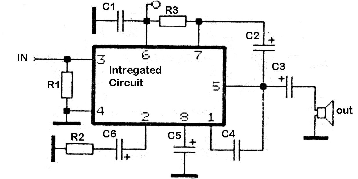 2 watt amp using tba820 amplifier ic circuit diagram