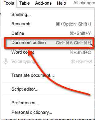 how to get document outline in google docs