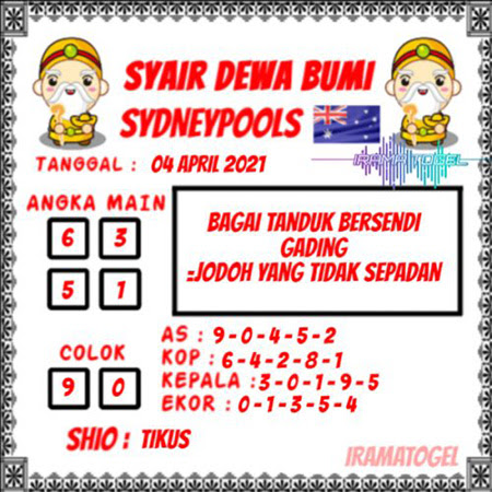 Syair Dewa Bumi Sidney Minggu 04 April 2021