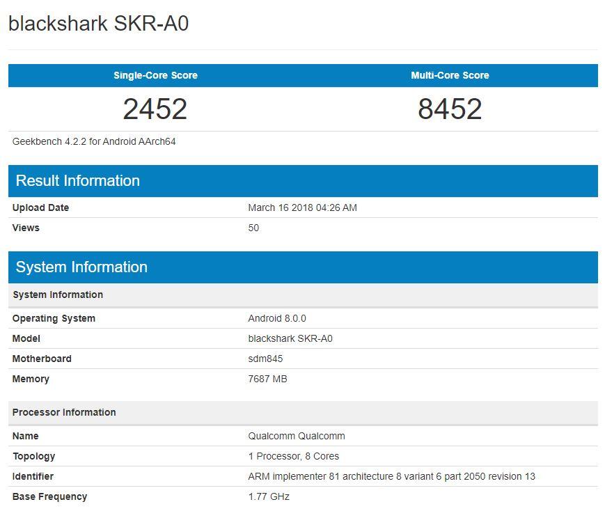 هاتف شاومي Blackshark يسجل أداء جيد على GeekBench