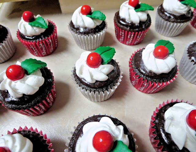 Christmas Chocolate and Peppermint Mini Cupcakes - Closer View of Holly Berry Cupcake 1