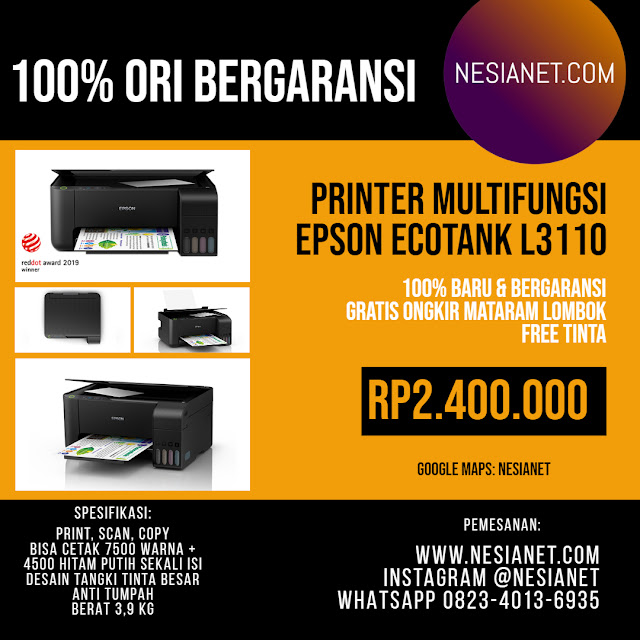 Jual Epson EcoTank L3110 All-in-One Ink Tank Printer Mataram Lombok