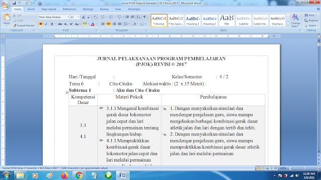 Contoh Format Jurnal Harian PJOK Kelas 4 SD Semester 4 k13 Revisi Terbaru