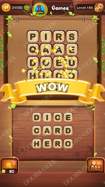 Word Bright Level 186 Answers, Cheats, Solutions, Walkthrough for android, iphone, ipad and ipod