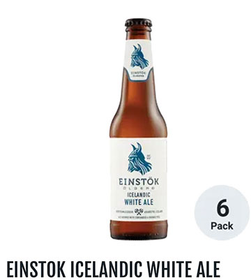 Doing our homework by sampling Icelandic at local tap house White Ale (Source: Einstok)