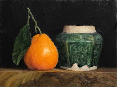Clementine, glazed ginger jar, classical still life