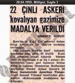 Kore Savaşı kahramanı Türk askerinin gazete haberi