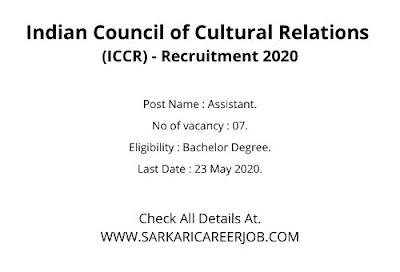 ICCR Recruitment 2020 Apply Online | 07 Assistant Post Latest Govt Jobs.
