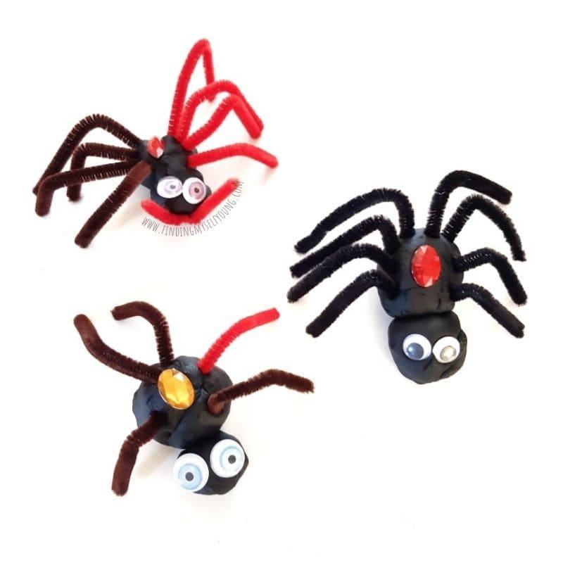 playdough spider invitation to play