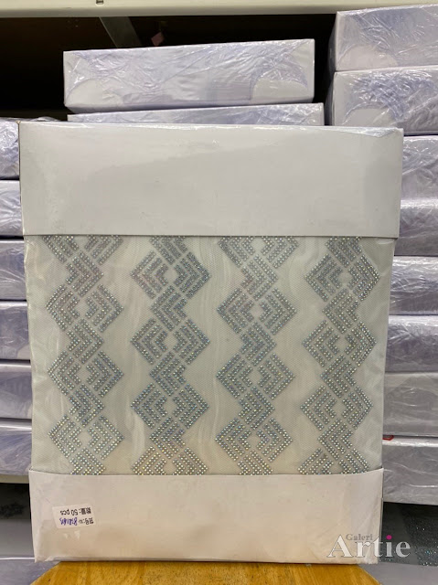 Pelekat hotfix sticker rhinestone DMC aplikasi tudung bawal fabrik pakaian corak zig zag bertindih