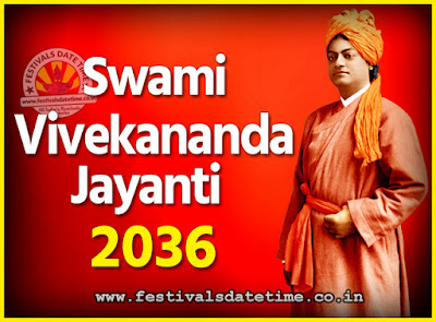 2036 Swami Vivekananda Jayanti Date & Time, 2036 National Youth Day Calendar