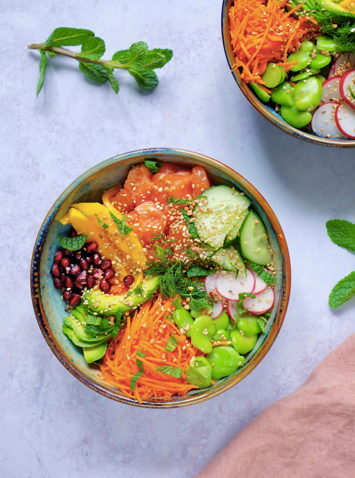 healthy food , saumon cru , legumes , quinoa , plat complet recette facile