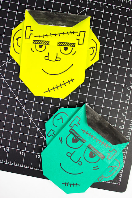 Easy Origami Frankenstein Monster Faces for Halloween Kids Craft