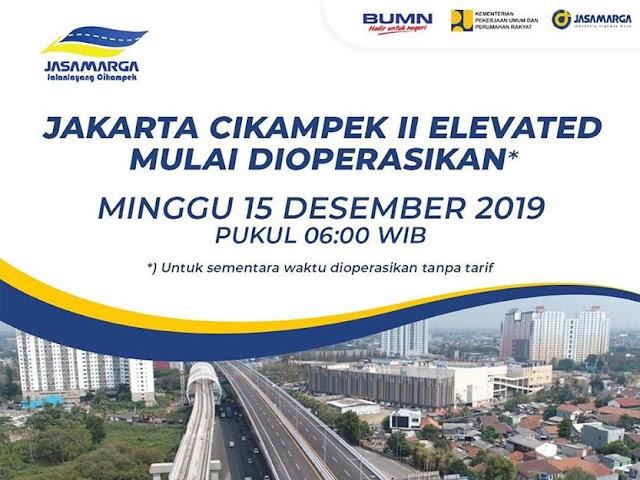 Jalan Tol Jakarta-Cikampek II Elevated Bisa Dilalui Mulai Minggu, 15 Desember 2019