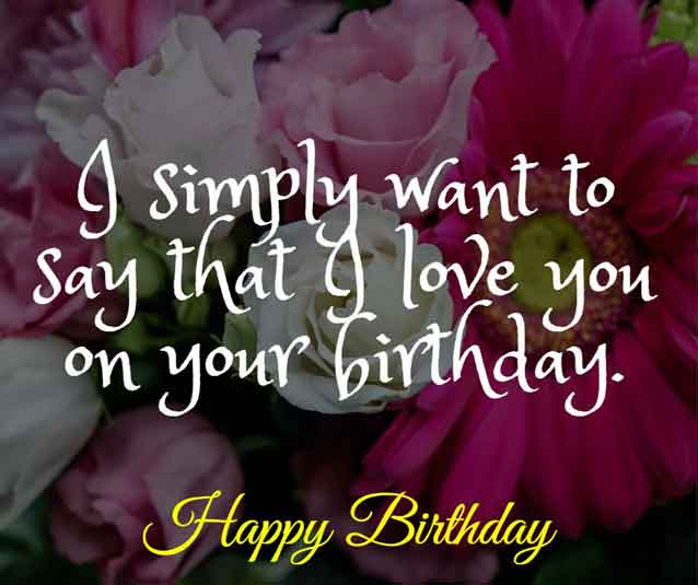 I simply want to say that I love you on your birthday.