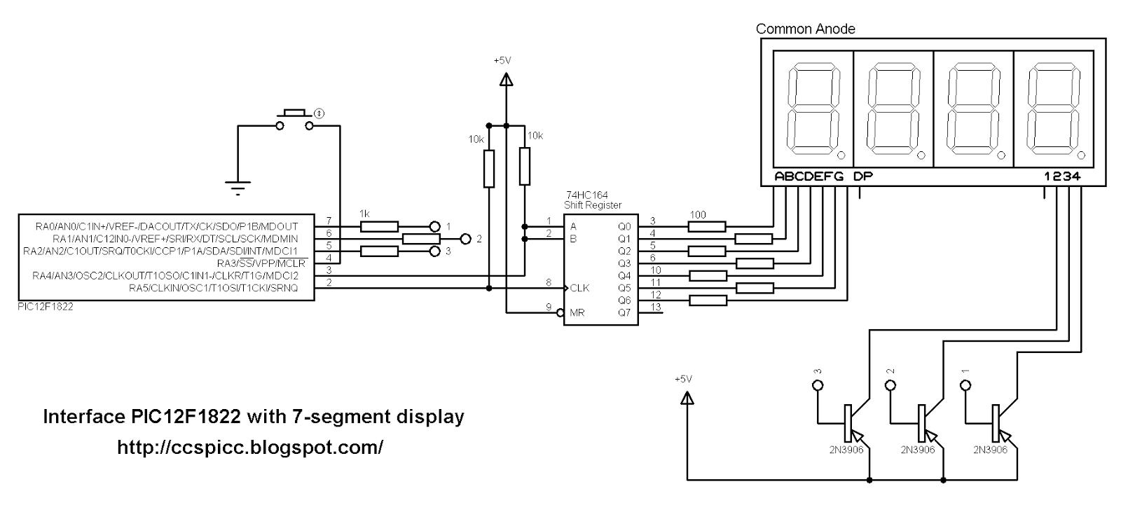 Interfacing 7-segment display with PIC12F1822 using CCS