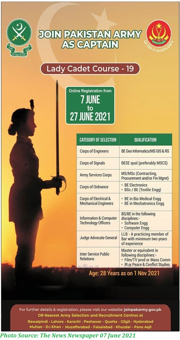 Join Pak Army as Captain Lady Cadet Course 19 Apply Online for Latest Pak Army Jobs 2021
