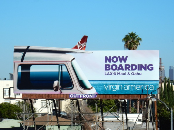 Virgin America Now boarding special cutout billboard