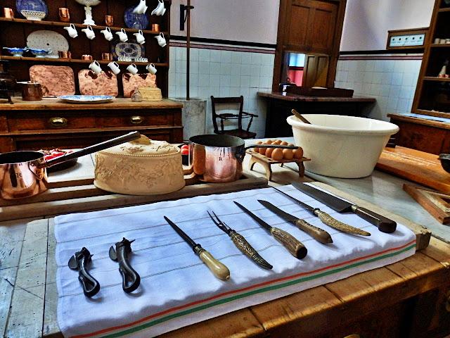 Victorian kitchen tools at Lanhydrock House, Cornwall