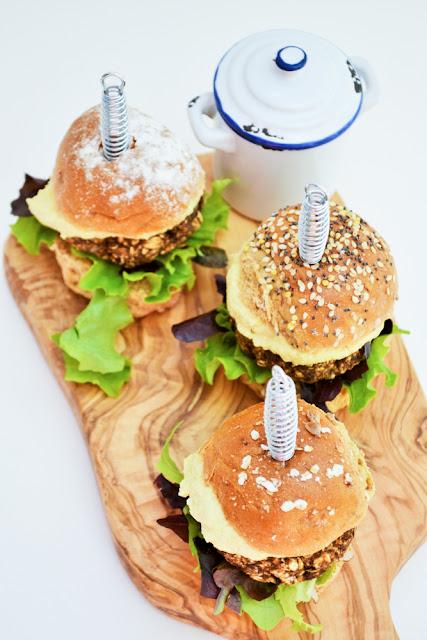 Mushroom and lentil burgers