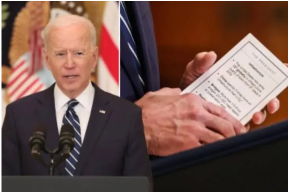 Joe Biden accidentally reveals the cheat sheets he used during his  first press conference as POTUS