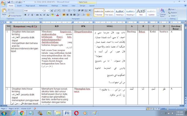 Contoh Soal Ujian Madrasah (UM) Bahasa Arab MTs
