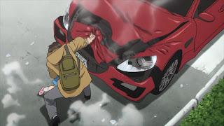 Shinichi Izumi i Migi zatrzymują samochód przy pomocy siły