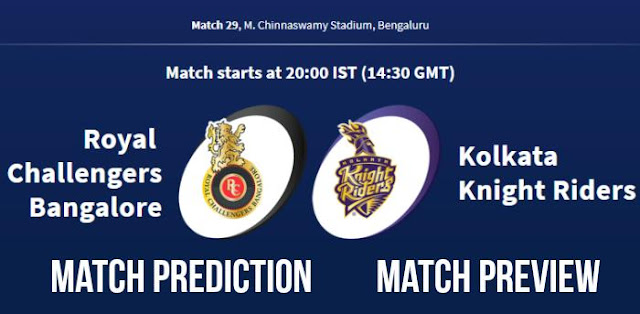 IPL 2018 Match 29 RCB vs KKR Match Prediction, Preview and Head to Head Who Will Win
