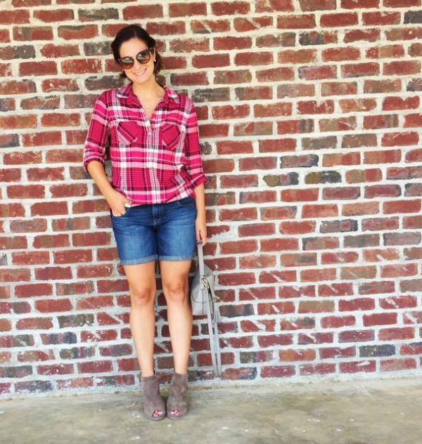 pink plaid shirt, fall summer style