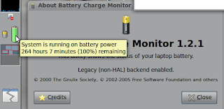 264 hours 7 minutes remaining in 100% (full) charged battery