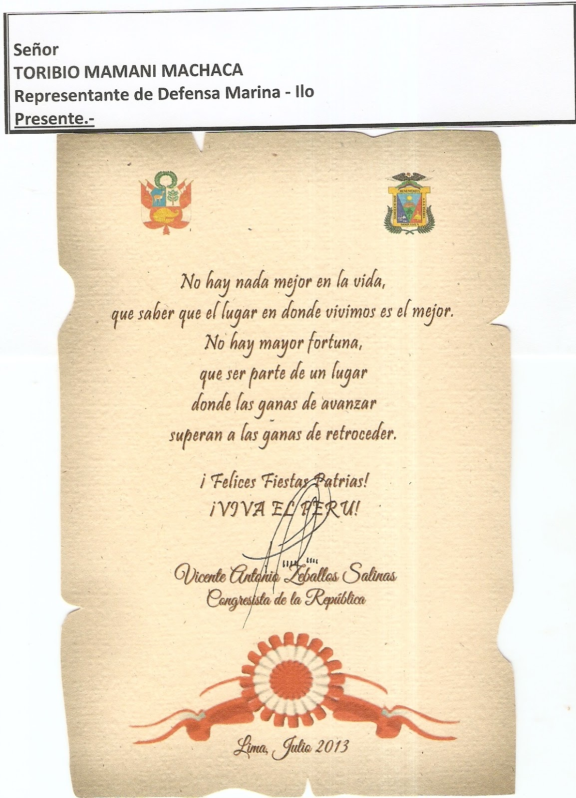 Saludos por fiestas Patrias. Congresista Antonio Zeballos Salinas b463f65a6f0