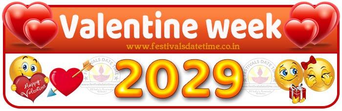 2029 Valentine Week List Calendar, 2029 Valentine Day All Dates & Day