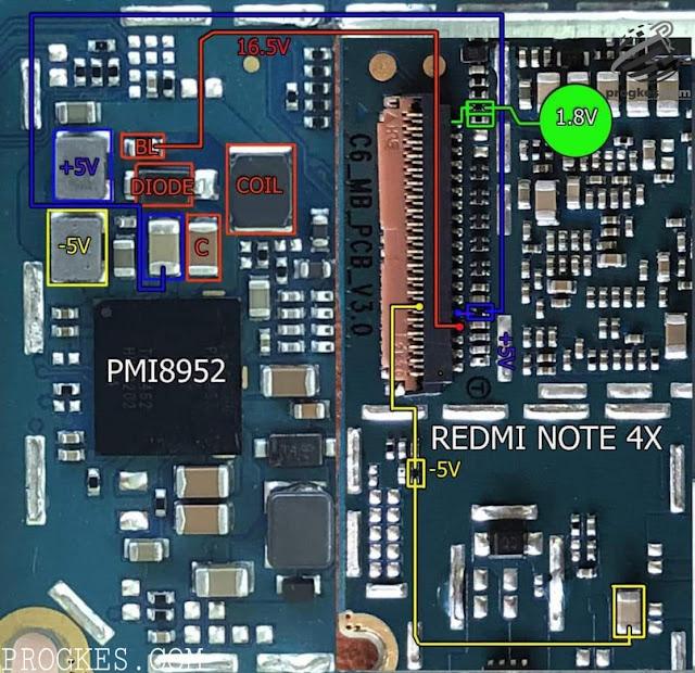 Media Care Indonesia  Diagram Backled Redmi Note 4x Mido