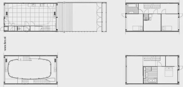 Plano arquitectónico de casa moderna en Holanda
