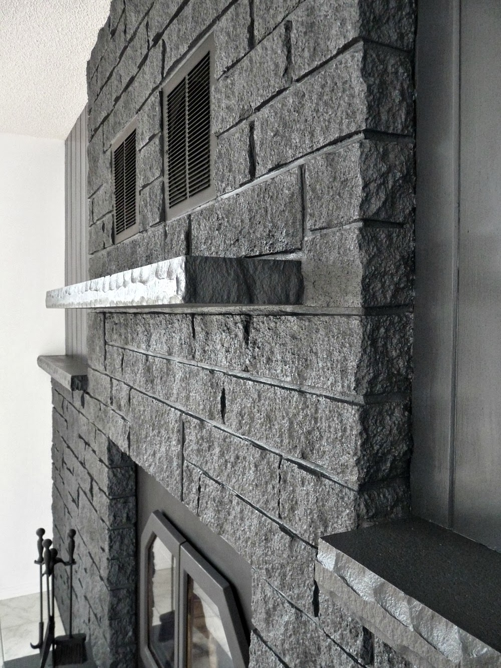How to Easily Paint a Stone Fireplace Charcoal Grey Fireplace ...