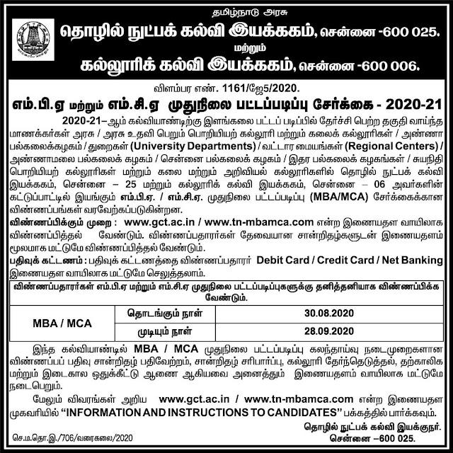 TN MBA MCA Admissions 2020 @tn-mbamca.com
