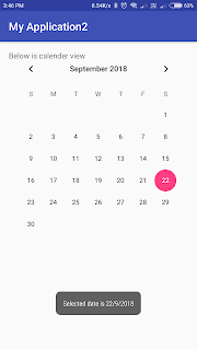 android, calendarview, toast