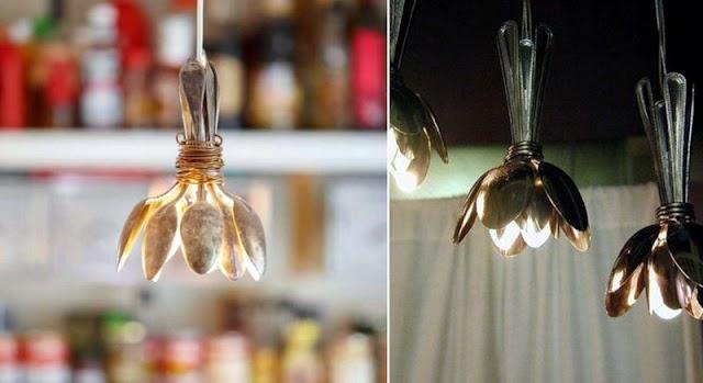 DIY Φωτιστικά για την κουζίνα από ασημένια κουτάλια