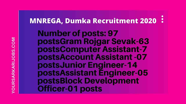 MNREGA, Dumka Recruitment 2020