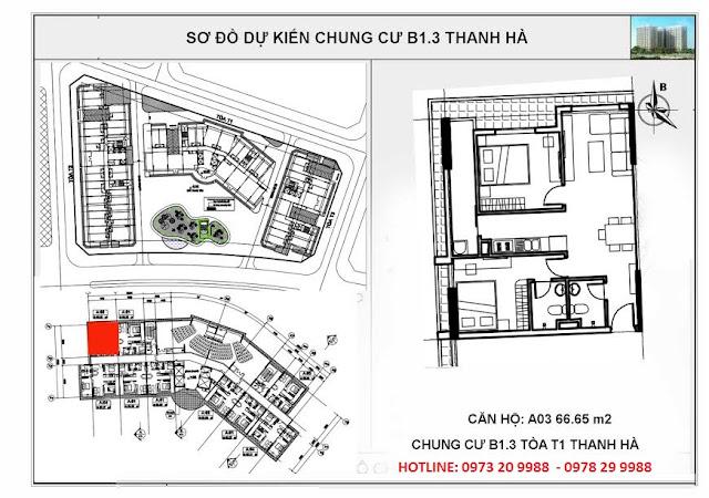 Sơ đồ mặt bằng chung cư B1.3 Thanh Hà tòa T1 căn hộ A03