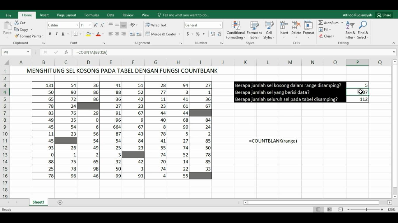 Cara Menggunakan Fungsi Countblank Untuk Menghitung Sel