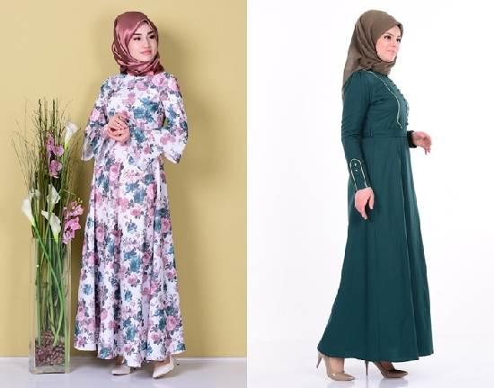 2018 Büyük Beden Tesettür Elbise Modelleri