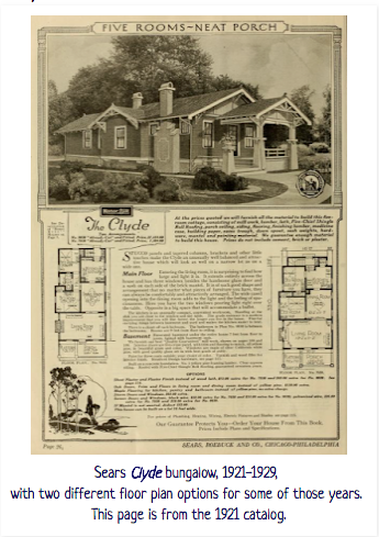 1921 Sears Modern Homes catalog image of small Sears Clyde bungalow