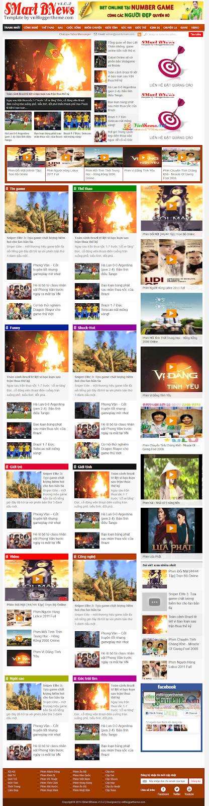 SMart BNewsv1.0.2 - Template tin tức phien bản 2 dành cho Blogspot